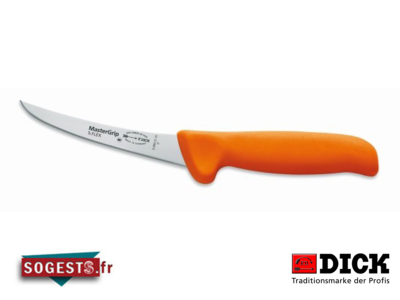 Couteau à désosser DICK MASTERGRIP lame courbée semi-flexible 13 cm manche orange