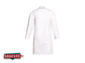 Blouse agroalimentaire poly / coton blanche avec pressions cachées